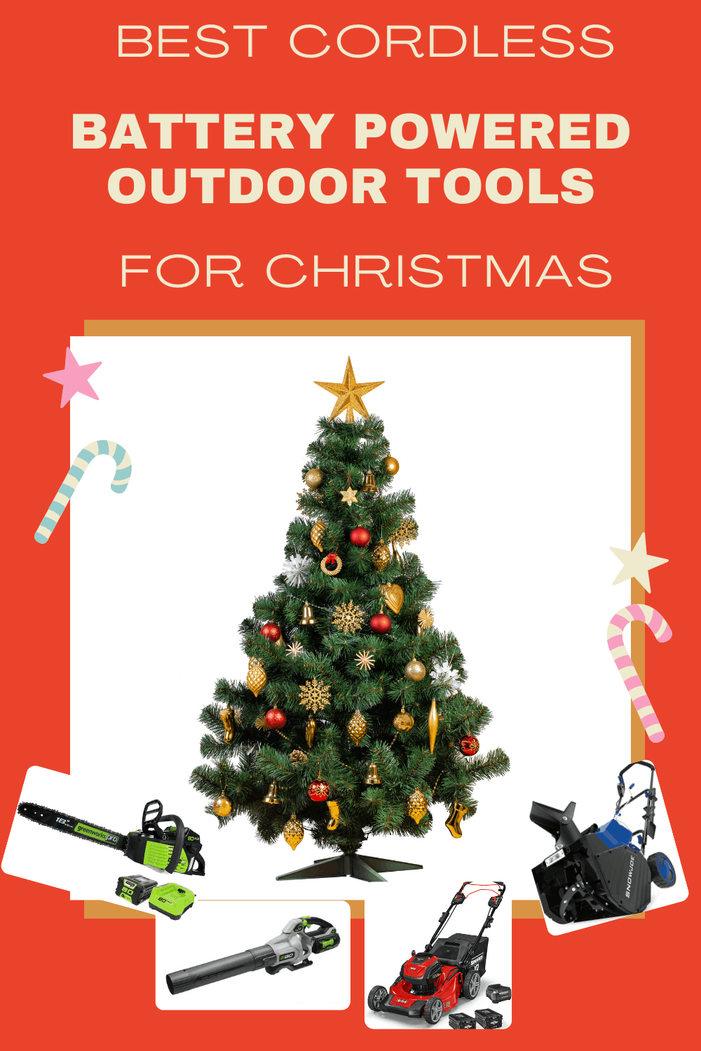 christmas tree with battery powered outdoor tools